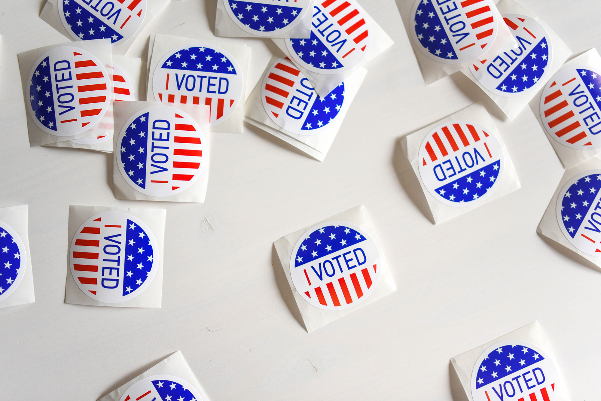 I voted stickers on a white background
