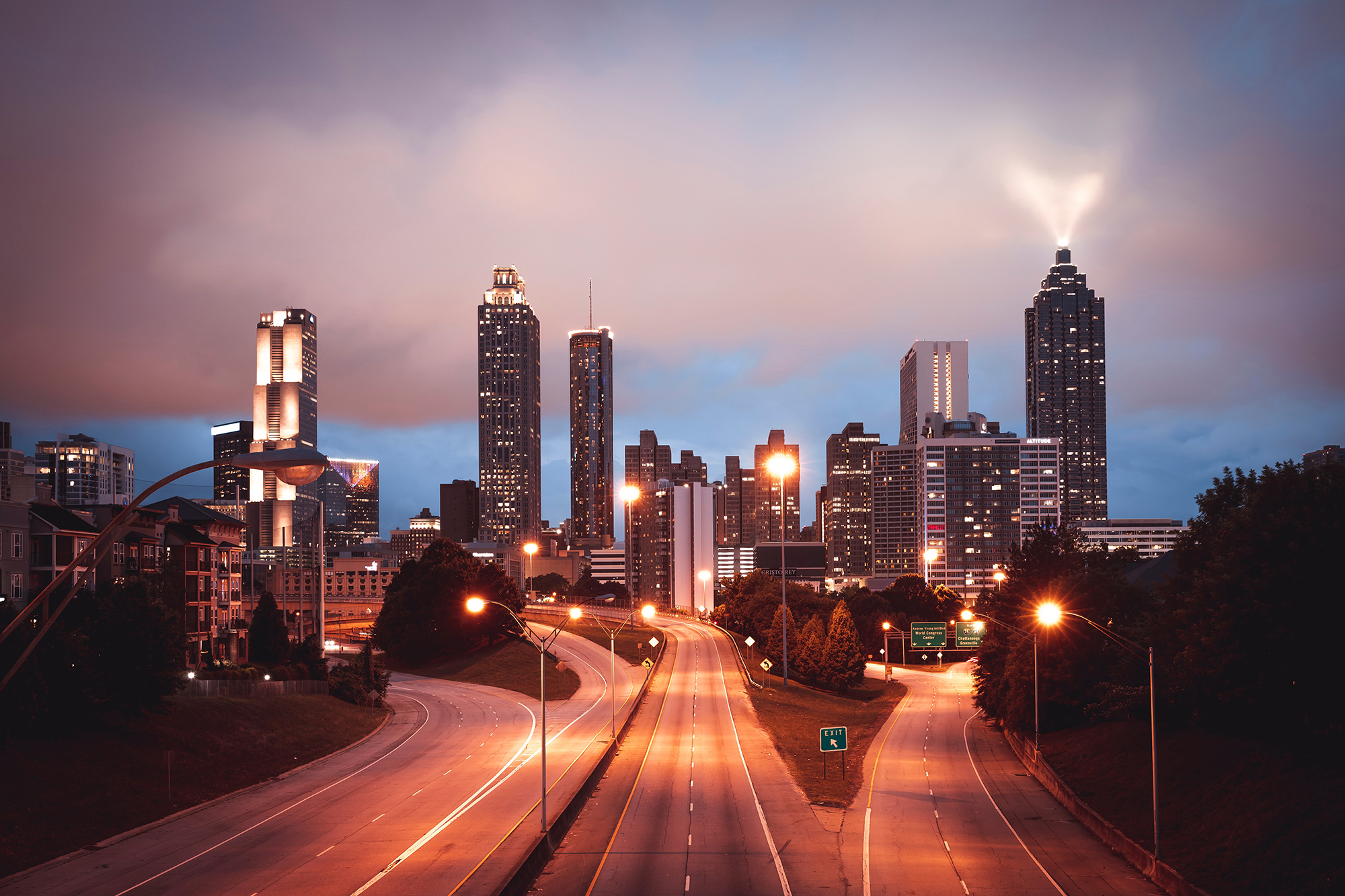 Atlanta skyline at night. Photo by Christopher Alvarenga.